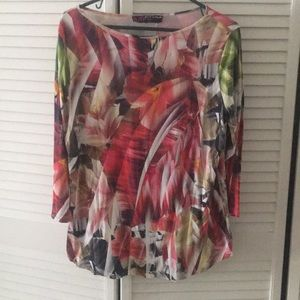 TUNIC 3/4 slv floral tropical silky stretchy large